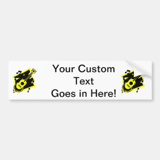 guitar abstract scribble back black yellow.png bumper sticker
