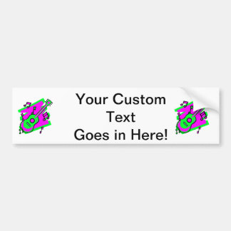 guitar abstract scribble back pink green.png bumper sticker