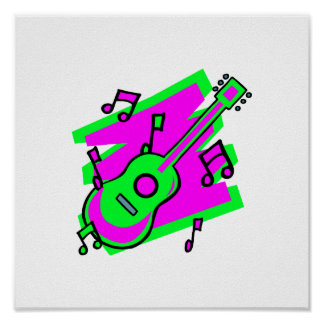 guitar abstract scribble back pink green.png poster