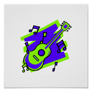 guitar abstract scribble back purple green.png poster