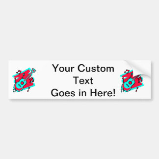 guitar abstract scribble back teal red.png bumper sticker