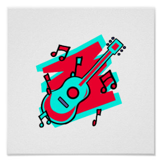 guitar abstract scribble back teal red.png poster