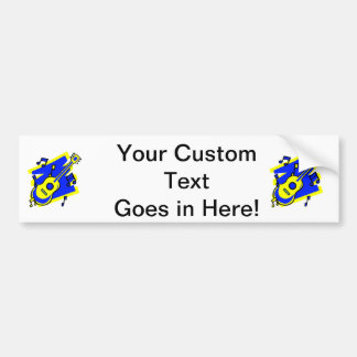 guitar abstract scribble back yellow blue.png bumper sticker