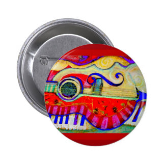 Guitar Abstracted Art by Sharles 2 Inch Round Button