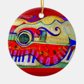 Guitar Abstracted Art by Sharles Ceramic Ornament