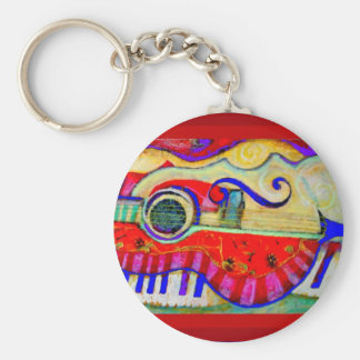 Guitar Abstracted Art by Sharles Key Chain