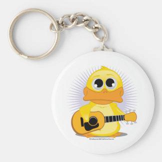 Guitar (Acoustic) Duck Basic Round Button Keychain