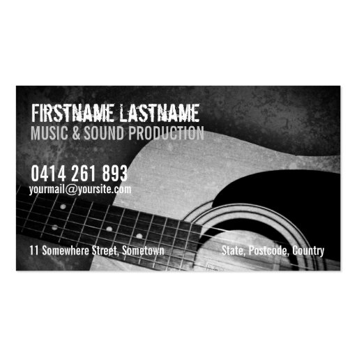 Artist management business card templates bizcardstudio guitar acoustic grunge music business card colourmoves Choice Image