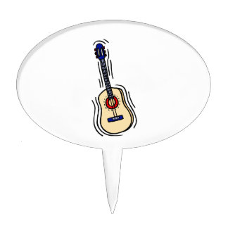 guitar acoustic simple red blue.png cake topper