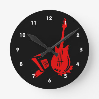 guitar amp stylized red.png round clock