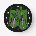 guitar and bass stylized green.png round wall clock