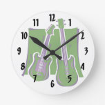 guitar and bass stylized green.png wallclocks