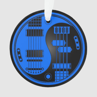 Guitar and Bass Yin Yang Blue and Black Ornament