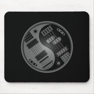 Guitar and Bass Yin Yang Grey and Black Mouse Pad