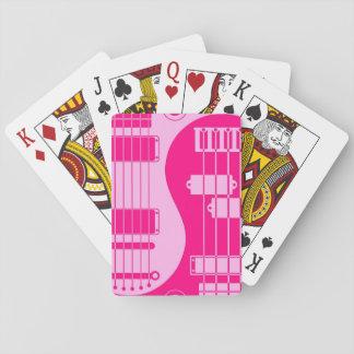 Guitar and Bass Yin Yang Pink Playing Cards
