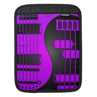 Guitar and Bass Yin Yang Purple and Black Sleeve For iPads
