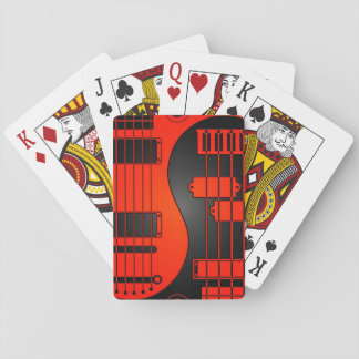 Guitar and Bass Yin Yang Red and Black Playing Cards