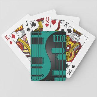 Guitar and Bass Yin Yang Teal Blue and Black Card Decks