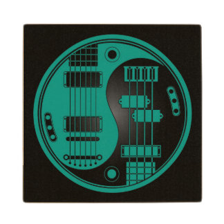 Guitar and Bass Yin Yang Teal Blue and Black Wooden Coaster