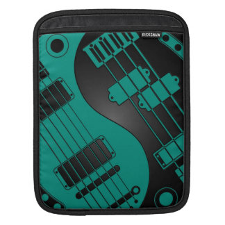Guitar and Bass Yin Yang Teal Blue on Black Sleeves For iPads