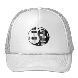 Guitar and Bass Yin Yang White and Black Trucker Hat