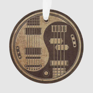 Guitar and Bass Yin Yang with Brown Texture