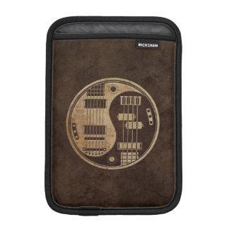 Guitar and Bass Yin Yang with Brown Texture iPad Mini Sleeves