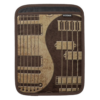 Guitar and Bass Yin Yang with Brown Texture Sleeves For iPads