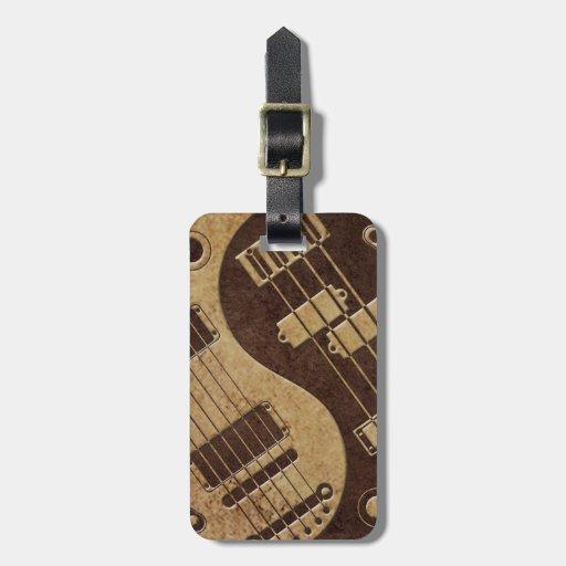 Guitar and Bass Yin Yang with Brown Texture Bag Tag