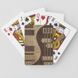 Guitar and Bass Yin Yang with Brown Texture Deck Of Cards