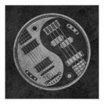 Guitar and Bass Yin Yang with Dark Texture Personalized Invite