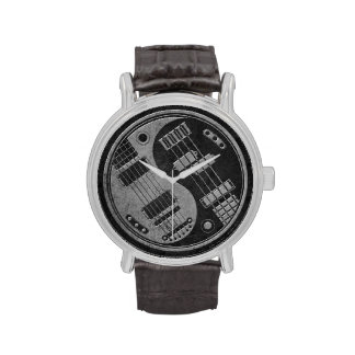Guitar and Bass Yin Yang with Dark Texture Watches