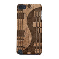 Guitar and Bass Yin Yang with Wood Grain Effect