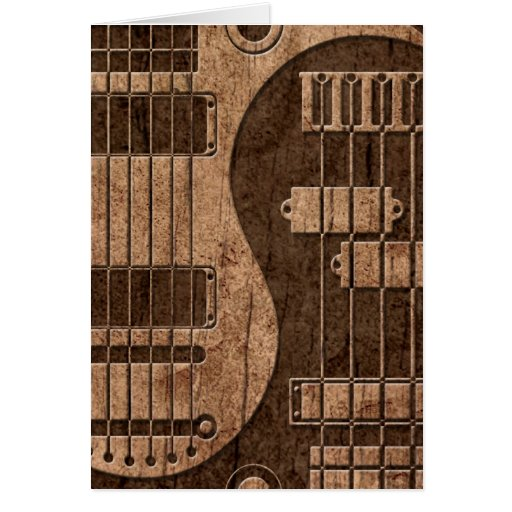 Guitar and Bass Yin Yang with Wood Grain Effect Greeting Card