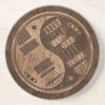 Guitar and Bass Yin Yang with Wood Grain Effect Drink Coaster