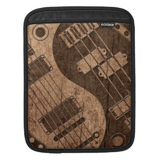 Guitar and Bass Yin Yang with Wood Grain Effect iPad Sleeves