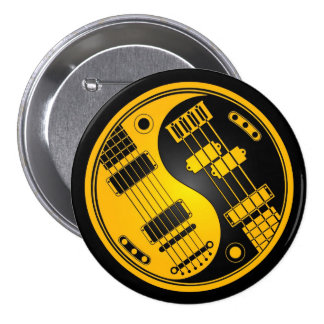 Guitar and Bass Yin Yang Yellow and Black 3 Inch Round Button
