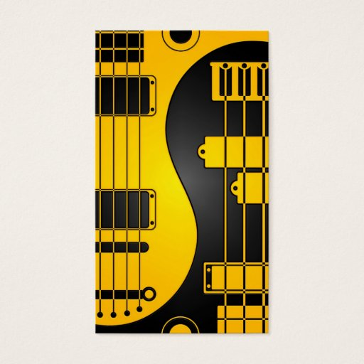 Guitar and Bass Yin Yang Yellow and Black Business Card