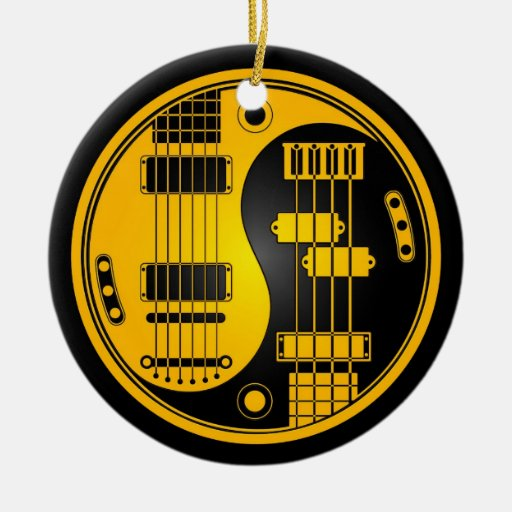 Guitar and Bass Yin Yang Yellow and Black Double-Sided Ceramic Round Christmas Ornament
