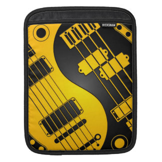 Guitar and Bass Yin Yang Yellow and Black Sleeve For iPads