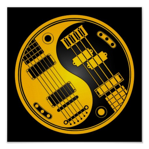 Guitar and Bass Yin Yang Yellow and Black Poster
