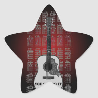 Guitar and chord 06 star sticker