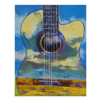 Guitar and Clouds Print