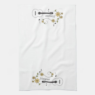 Guitar and Flowers Hand Towel