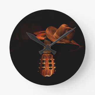 Guitar and hat round clock