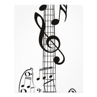 Guitar and Music Notes 3 Letterhead