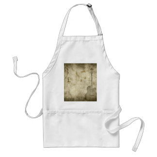 Guitar and Music Notes Faded Vintage Funky Adult Apron