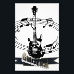 """Guitar and Musical Notes Stationery<br><div class=""""desc"""">Guitar and musical notes design for musician. Gift for a guitar player or musician. Also on t-shirt and clothing,  bag,  mug and gifts.</div>"""