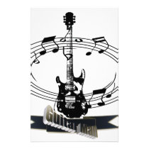 Guitar and Musical Notes Stationery