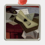 Guitar and Newspaper, 1925 Square Metal Christmas Ornament